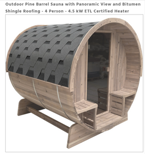 Outdoor Pine Barrel Sauna with Panoramic View and Bitumen Shingle Roofing - 4 Person - 4.5 kW ETL Certified Heater