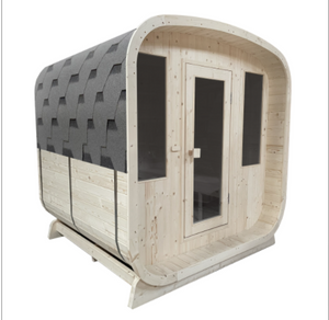 4 Person Outdoor Pine Wood Barrel Steam Sauna with Bitumen Shingle Roofing - 4.5 kW ETL Certified Heater