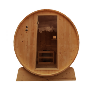 Outdoor Rustic Cedar Barrel Steam Sauna with Bitumen Shingle Roofing - 8 Person - 9 kW ETL Certified Heater
