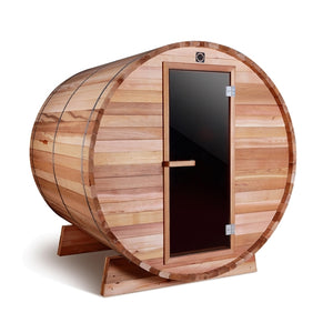 Aleko Outdoor Barrel Sauna with Rustic Western Red Cedar  - ETL Certified Heater - 4 Person