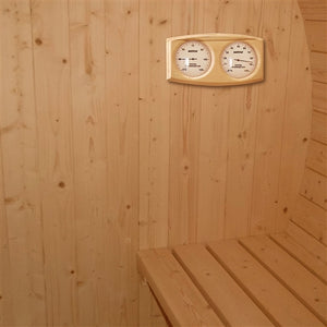 Aleko Outdoor Wet Dry Barrel Sauna with White Finland Pine - 5 Person - Front Porch Canopy - 4.5 kW ETL Certified