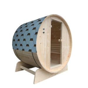 Aleko Outdoor Barrel Sauna with Pine & Bitumen Shingle Roofing - 4 Person