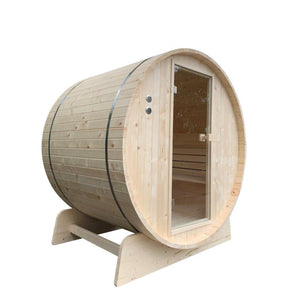 Aleko Outdoor Barrel Sauna with Pine & Bitumen Shingle Roofing - 8 Person