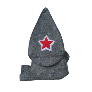 Natural Sheep Wool Traditional Russian Sauna Hat - Unisex - Charcoal with Embroidered Star