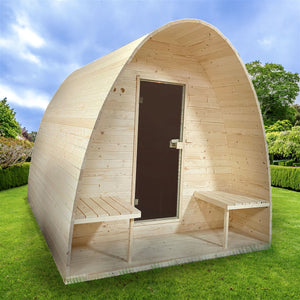 Aleko Outdoor Sauna: Barrel Steam Sauna Pod with Bitumen Shingle Roofing & Pine Wood- 8 Person - 9 kW ETL Certified Heater