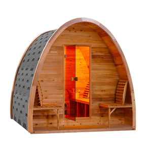 Aleko Outdoor Sauna: Barrel Steam Sauna Pod with Bitumen Shingle Roofing & Cedar Wood - 8 Person - 9 kW ETL Certified Heater