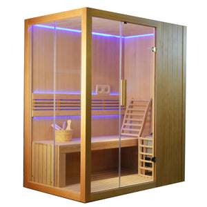 Aleko Traditional Sauna with Canadian Hemlock Wood & 4.5kW Heater holds 4-People