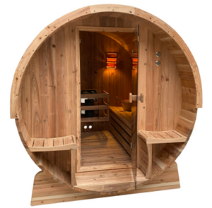 Outdoor Rustic Cedar Barrel Steam Sauna - Front Porch Canopy - ETL Certified - 4 Person