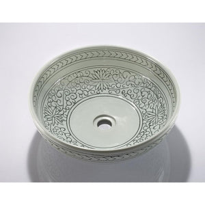 Legion Furniture Porcelain Vessel Sink Bowl - Light Green Flower, Off White ZA-225