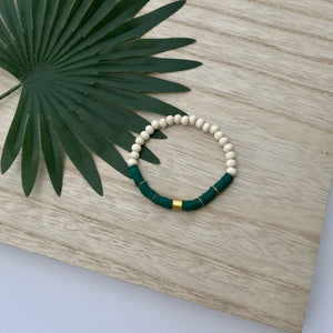 Heishi Chic Collection - Emerald Diffuser Bracelet