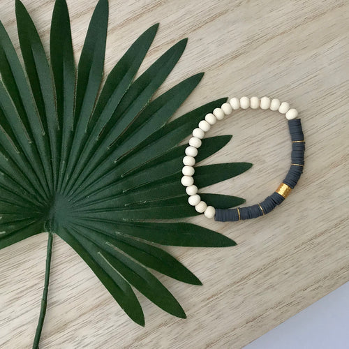 Heishi Chic Collection - Grey Stone Diffuser Bracelet