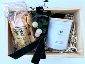 Gift Box with Lotion Candle and Olde Colony Baked Item