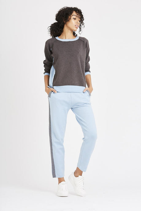 grey and blue tracksuit set