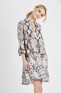 Snake Print Bell Sleeve Dress - Beige