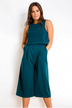 Load image into Gallery viewer, Sleeveless Layer Culotte Jumpsuit Emerald Green