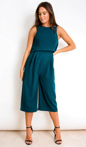 Sleeveless Layer Culotte Jumpsuit Emerald Green