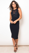 Load image into Gallery viewer, Mesh Applique Midi Dress Navy