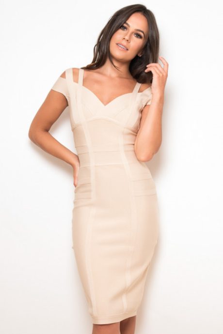 Off Shoulder Bandage Bodycon Dress Nude