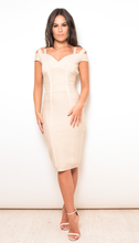 Load image into Gallery viewer, Off Shoulder Bandage Bodycon Dress Nude