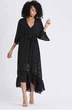Load image into Gallery viewer, High Low Plunge Belted Maxi Dress - Black