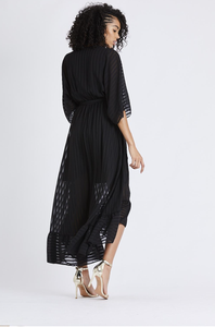 High Low Plunge Belted Maxi Dress - Black