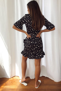 Sleeve Frill Mini Dress Black Spot Poker Dots