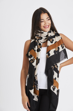 Load image into Gallery viewer, Stripe Leopard Print Scarf - Mocha