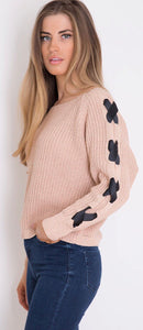 Lace Up Sleeve Jumper Nude
