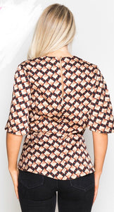 Geo Print Wrap Top Multi