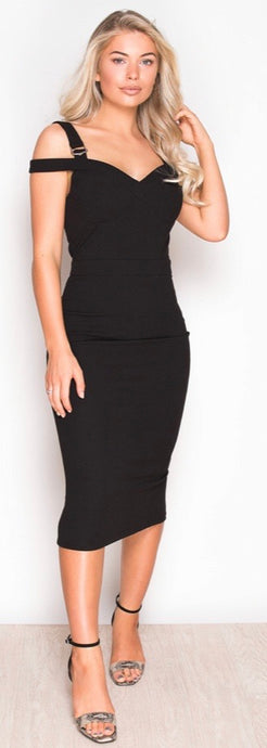 Off Shoulder Buckle Midi Dress Black