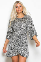 Load image into Gallery viewer, Leopard Tie Front Mini Dress Black/White