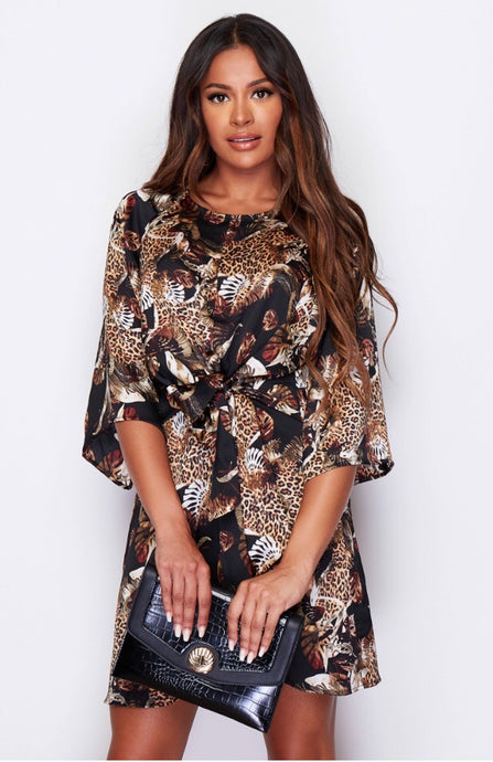 Tie Front Mini Dress Brown Animal Print