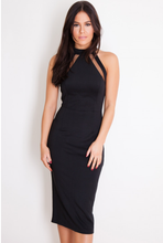 Load image into Gallery viewer, Mesh Panel Bodycon Midi Dress Black