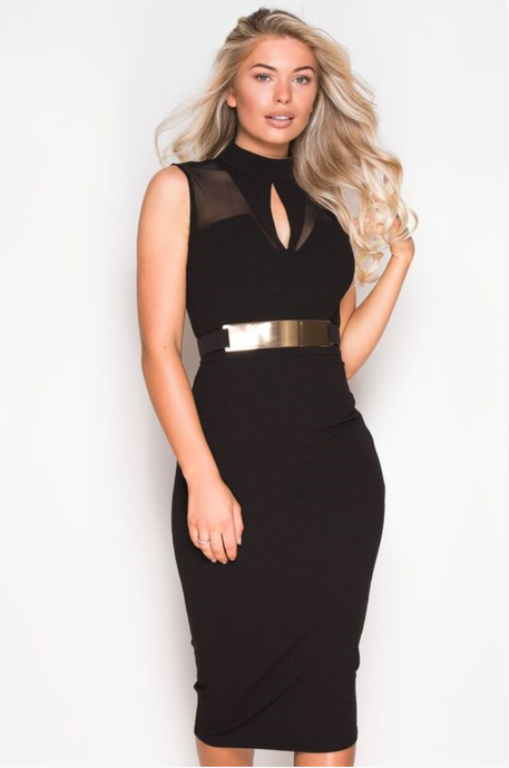 Mesh Black Dress with Gold Belt