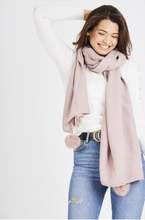 Load image into Gallery viewer, Ribbed Pom Pom Scarf - Dusty Pink