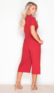 Short Sleeve Culotte Jumpsuit Red