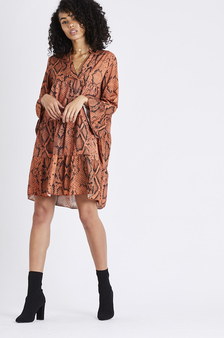Snake Print Bell Sleeve Dress - Rust