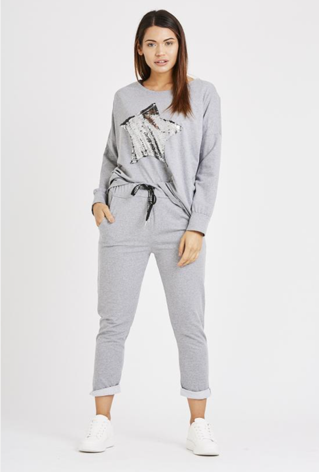 Star Sequin Cotton Tracksuit/Loungewear Light Grey/Sequins