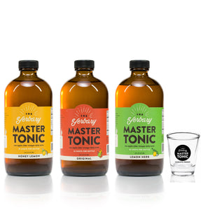 Master Tonic Fire Cider big 16oz bottles all three flavors original honey lemon lemon herb with shot glass