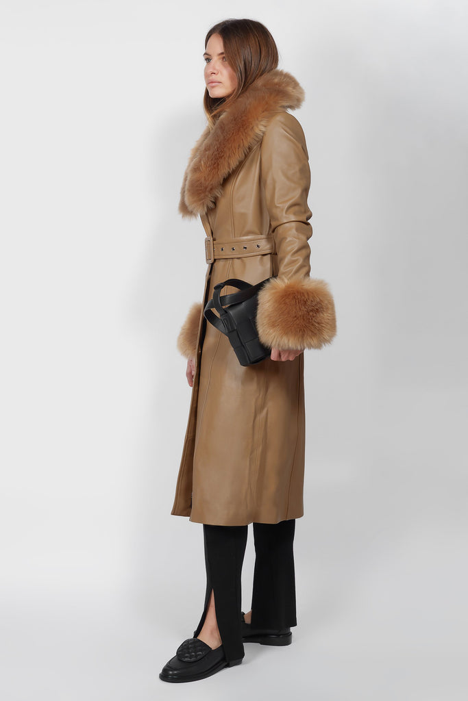 Marta Leather Camel with Vegan Fur