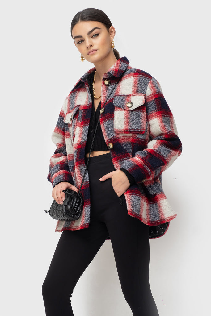 Lena Lined - Navy/Red Check