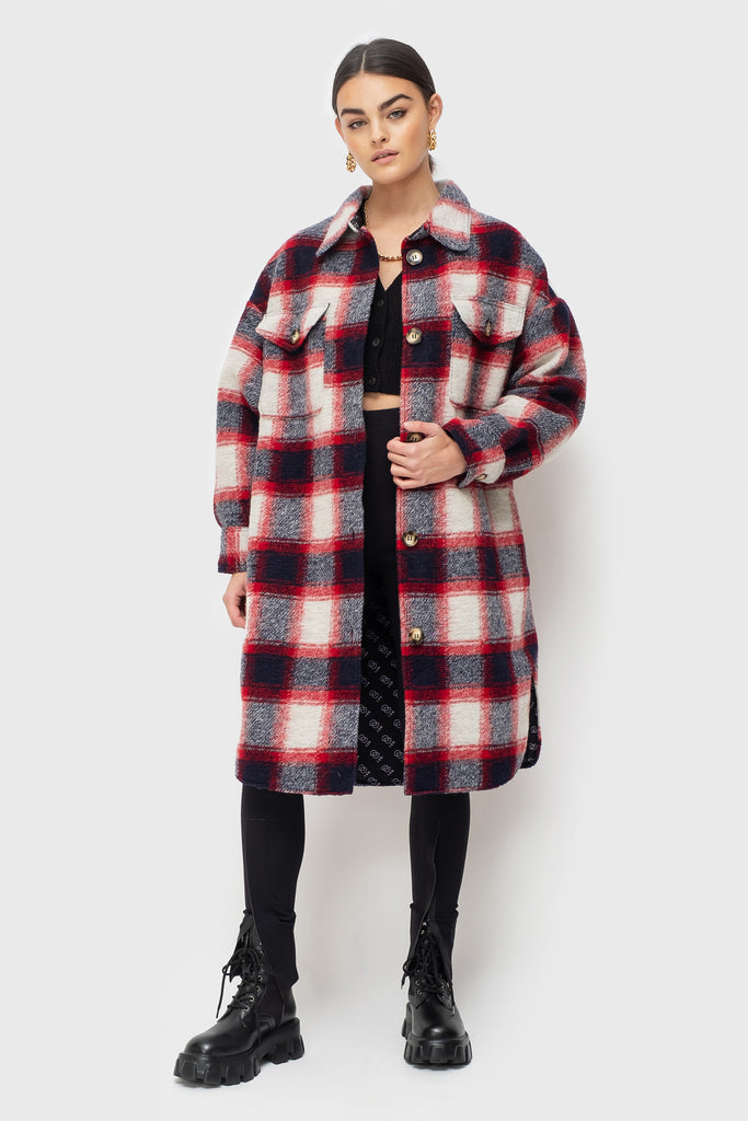 Abi Lined - Navy/Red Check