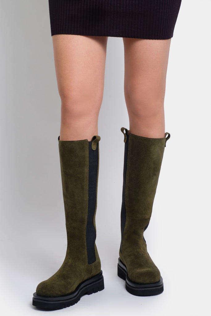 Kara Green Long Boots - SUEDE
