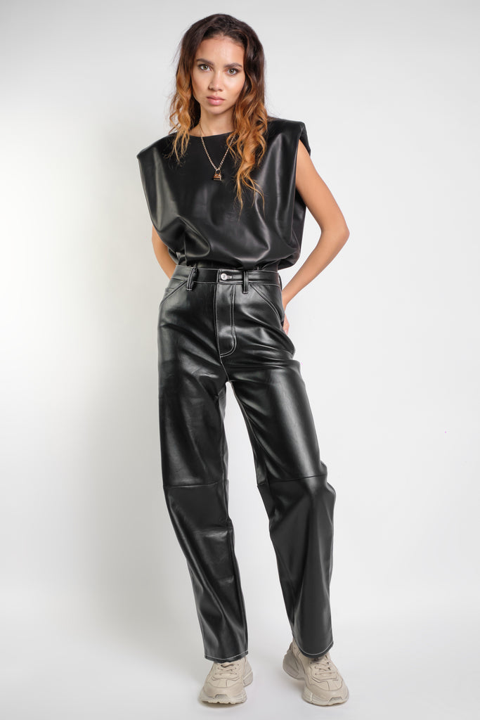 Saskia Leather Black - GENUINE LEATHER