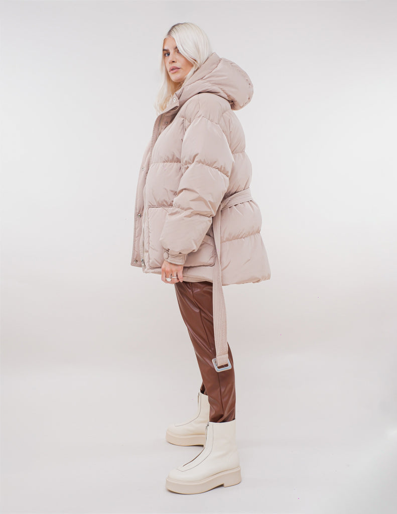 BEIGE DOWN FILLED PUFFER