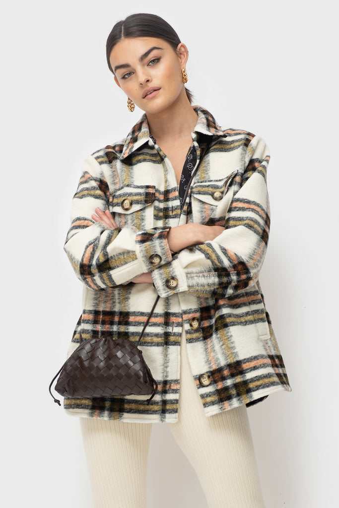 Lena Lined - Cream Check