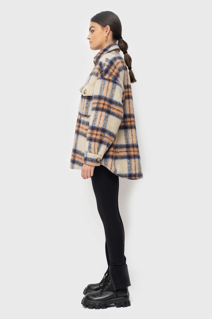 Lena Lined - Beige/Orange Check