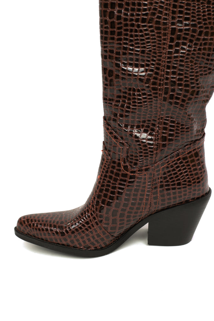 Marilyn Mid Brown Patent Croc
