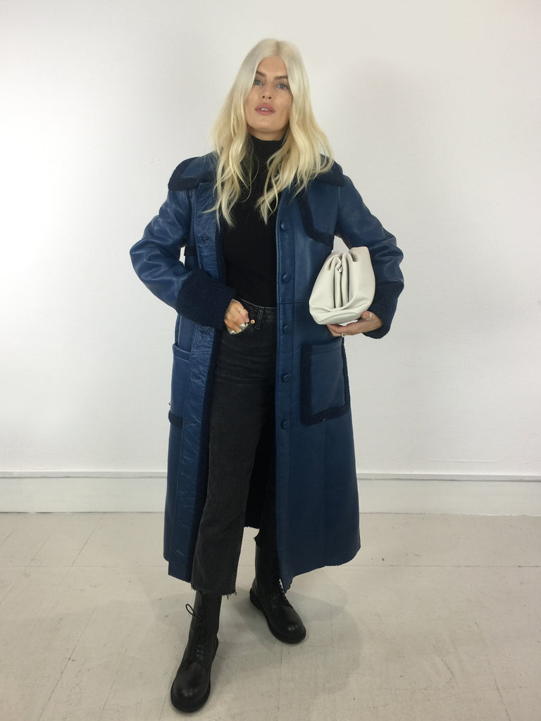 Sample Sale - Vegan Leather and Sheepskin Coat