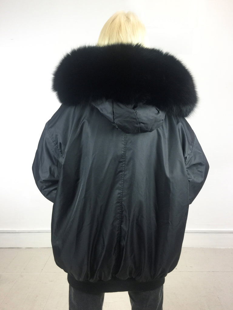 Sample Sale - Long Bomber Jacket Black